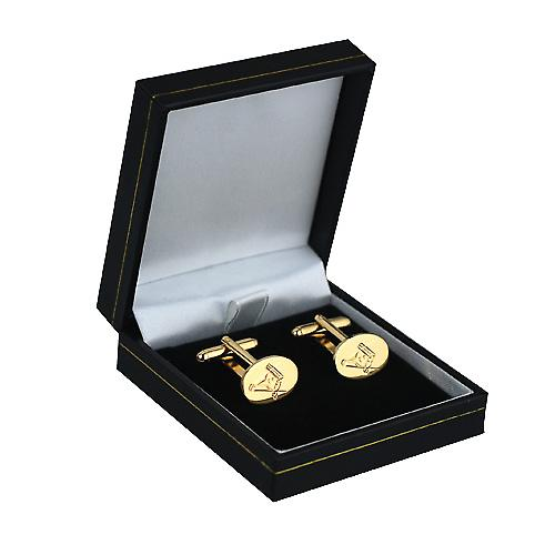 Hard Gold plated 12x17mm hand engraved Masonic with G swivel Cufflinks