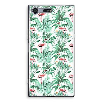 Sony Xperia XZ Premium Transparent Case (Soft) - Flamingo leaves