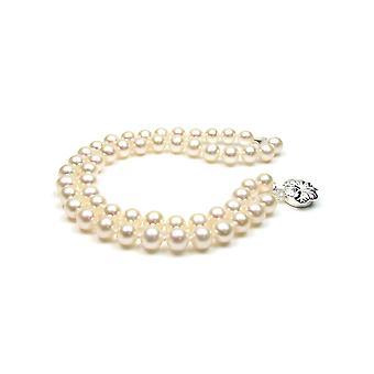 Bracelet woman 2 ranks growing pearls of water soft white and clasp Fleur Silver 925/1000