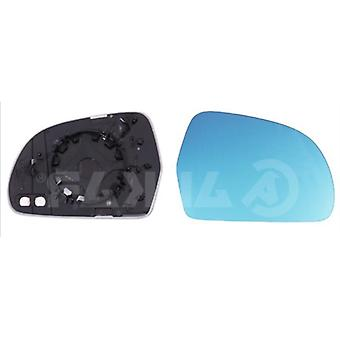 Right Blue Mirror Glass (heated) & Holder for AUDI A6 Avant 2008-2011
