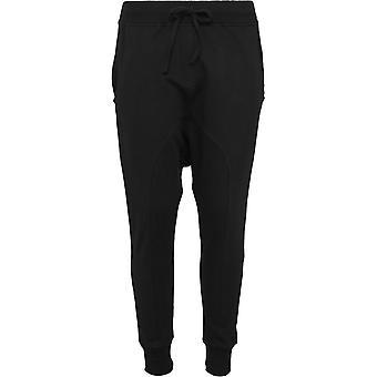 都市の古典女性 - ブラック フリース ハーレム パンツ スウェット パンツします。