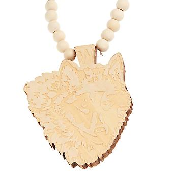 Wood style Bead Necklace - WOLF beige