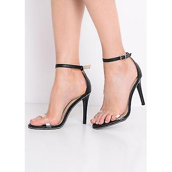 Plexiglas-Gurt Heel Stiletto Sandaletten schwarz