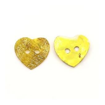 Packet 10 x Yellow Mother of Pearl 20mm Heart 2-Holed Sew On Buttons Y06975