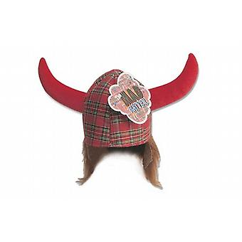 Scottish Hagar Red Tartan Viking Novelty Hat