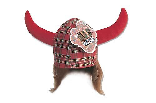 Schotse Hagar Red Tartan Viking Novelty Hoed
