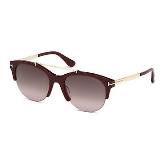 Tom Ford Tom Ford Ladies Bordeaux & Gold Adrenne Round Sunglasses With Gradient Lens