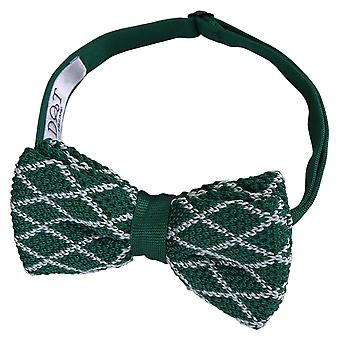 White and Olive Diamond Grid Knitted Pre-Tied Bow Tie
