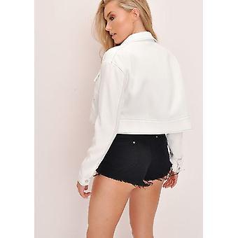 Black Contrast Stitch Cropped Jacket White