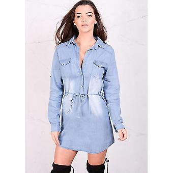 Long Sleeved Belted Button Front Demin Shirt Dress