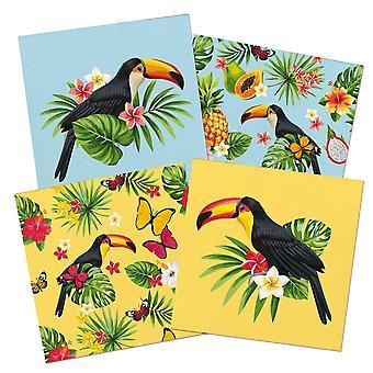 Tukan Sommer Party Serviette Servietten 33x33 cm 20 Stück Tropical Tukanparty Deko