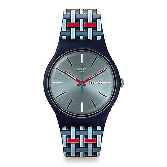 Staal Suon710 Wovering Blue & rode siliconen horloge