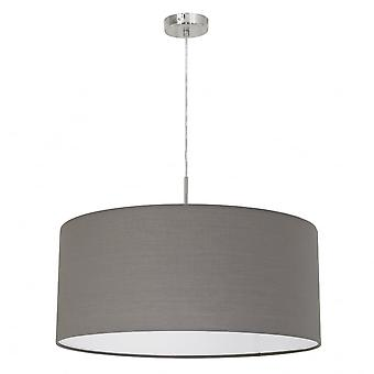 Eglo Pasteri 530mm Pale Brown Drum Shade With Nickel Pendant