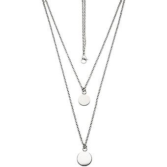 Collier part 2-row chain 45 cm with followers of stainless steel matt