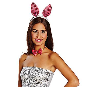 Bunny set sequin pink white 2 pieces headband bow tie ladies Carnival