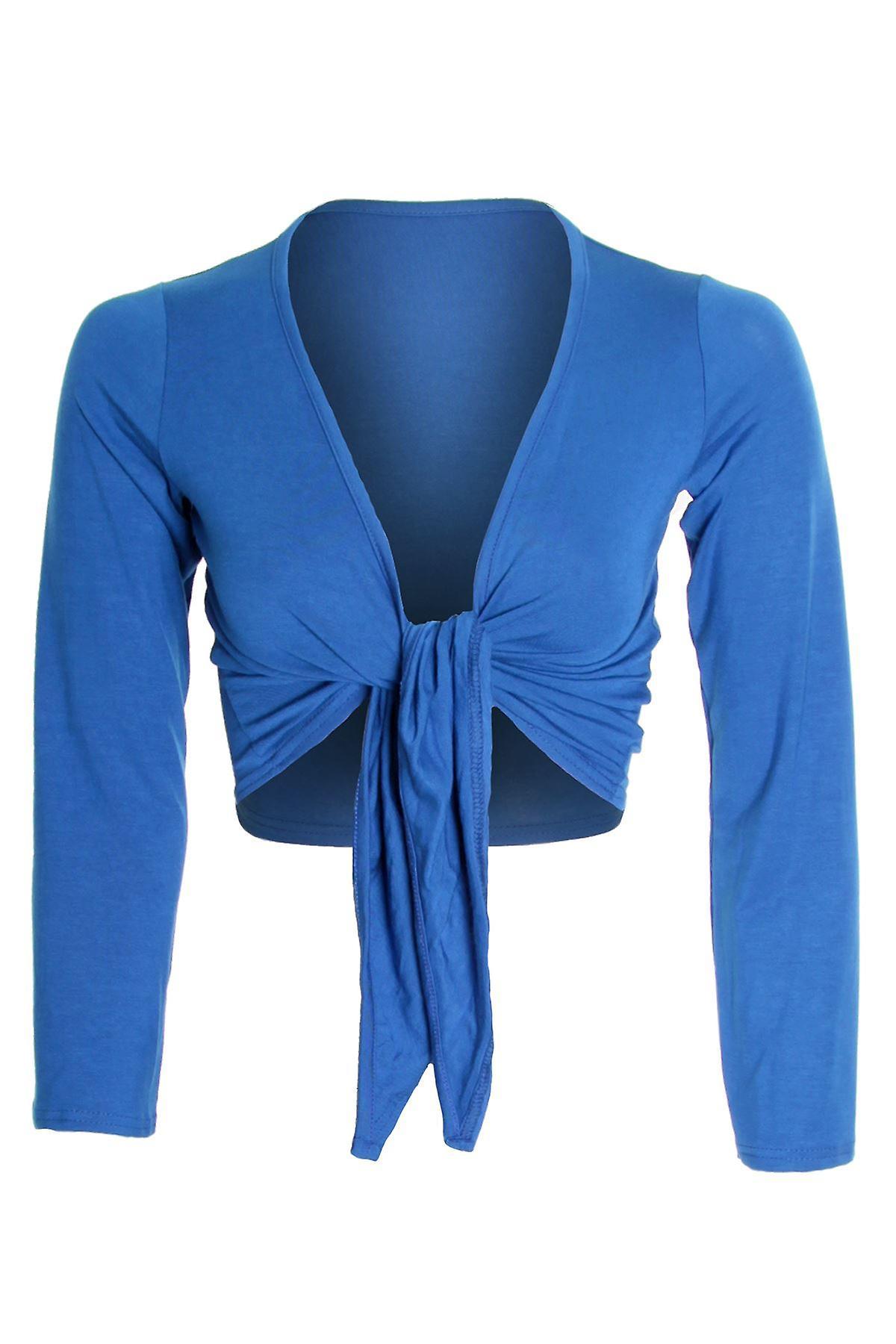 Senhoras manga longa Cardigan Wrap Top cor Bolero bolero feminino de amarrar