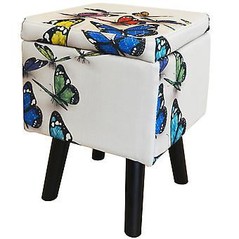 Butterfly - Contemporary Retro Square Padded Storage Stool - Cream / Multi