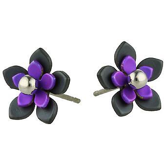 Ti2 Titanium Black Back Five Petal Flower Stud Earrings - Imperial Purple
