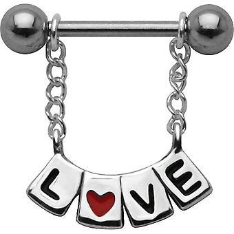 Nipple Shield barre Piercing, bijoux de corps, en argent Sterling 925, «LOVE»