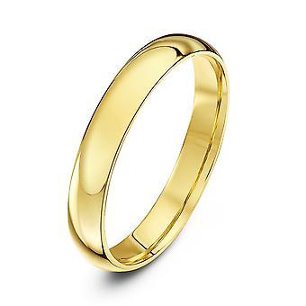 Anneaux de mariage Star 9ct Cour de lumière or jaune forme 3mm bague de mariage