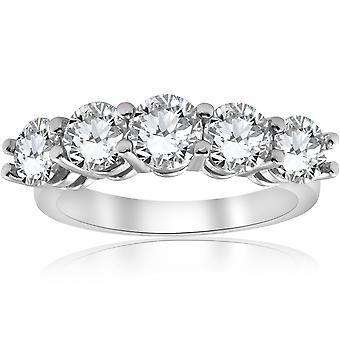 3ct diamant cinq Pierre Wedding Ring 14K or blanc