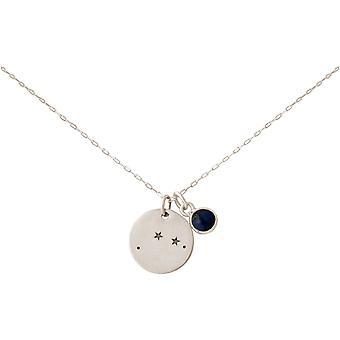 GEMSHINE kosmiske constellation halskjede med Horoskop dyrekretsen tegn Væren RAM med blå safir 925 sølv, gull belagt eller rose - i Madrid, Spania