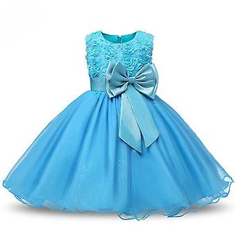 Princess dress with rosette and Flowers-Turquoise