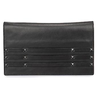Valentino Black Leather Rock Stud Clutch