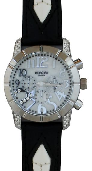 Waooh - shows Waooh 03873 A Bracelet leather black & white 5
