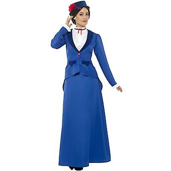 Victorian Nanny Costume, Blue, with Jacket with Mock Shirt, Skirt & Hat