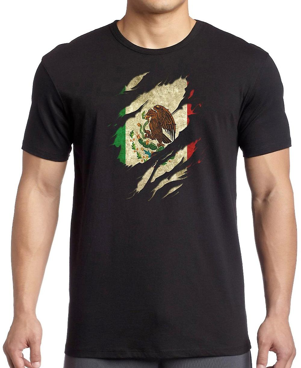 Mexican Grunge Flag Ripped Effect T Shirt