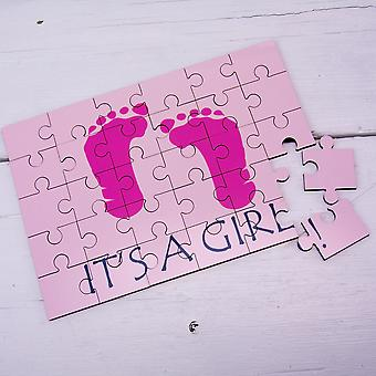 It's a Girl Secret Message Wooden Jigsaw