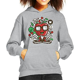 Apple-Skater Cartoon Charakter Kind Sweatshirt mit Kapuze