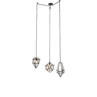 Vintage QAZQA hanglamp 3-Licht zwart conocido helder glas - Scone