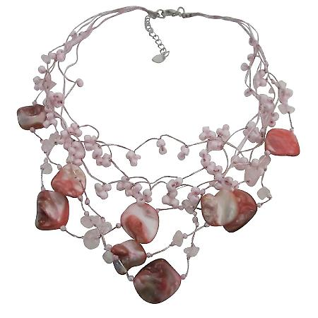 Beautiful Pink Shell Rose Quartz Nugget Necklace Multistring Pink Rose