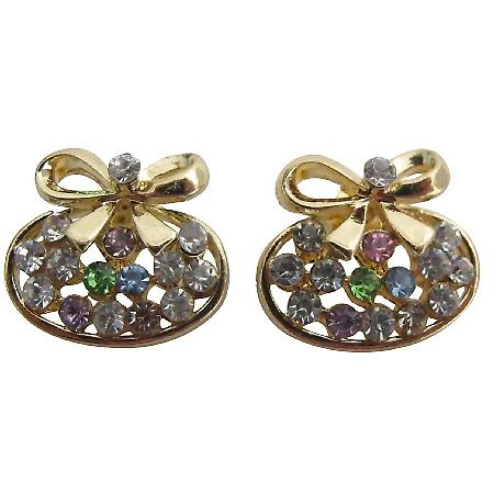 Christmas Gold Bow Earrings Tiny Multicolor Cubic Zircon Stud Earrings
