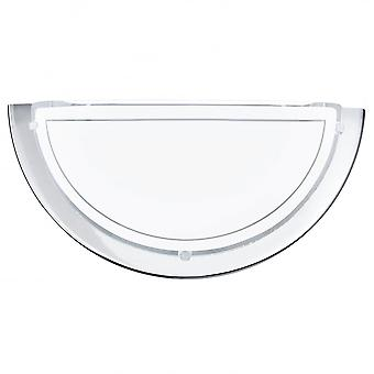 Eglo Planet Chrome Wall Uplighter With Satin Glass