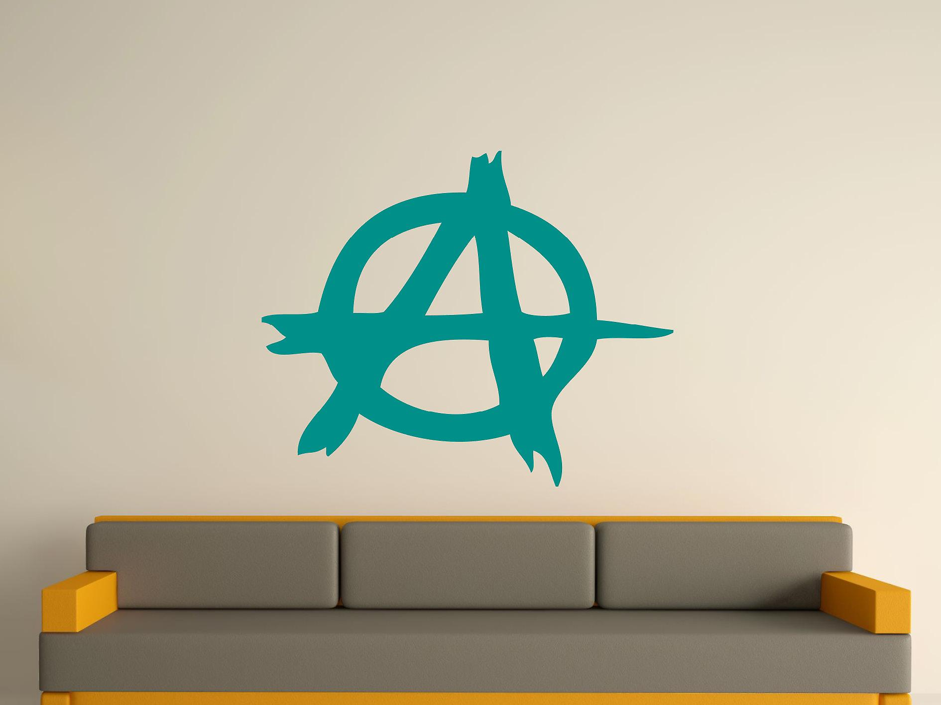 Anarchy Symbol Wall Art Sticker - Aqua Green