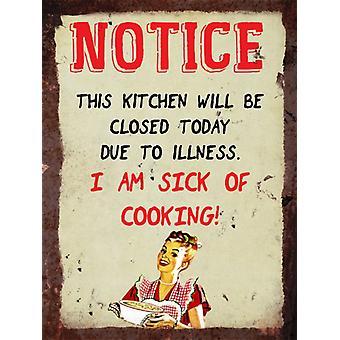 Vintage metall veggen tegn - kjøkken varsel, syk av matlaging