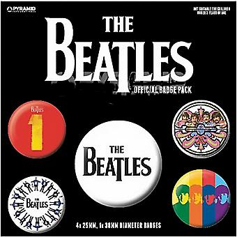 The Beatles (Black) 5 round Pin Badges in Pack (py)