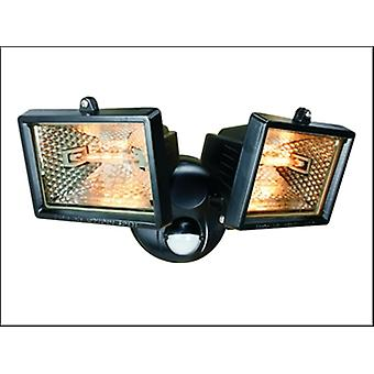 ES120/2 TWIN HALOGEN FLOODLIGHTS WITH MOTION DETECTOR - BLACK (150W)