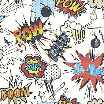 Rasch Ka Pow Comic Book Theme Kids Wallpaper Red White Blue Boom Zap Children's