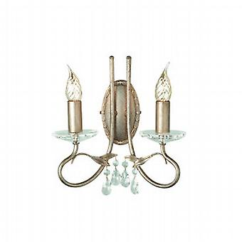 Traditional Double Wall Light with Crystal Droplets