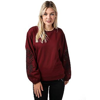 Womens Only Nadia Balloon Sleeve Crew Sweatshirt In Chocolate Truffle