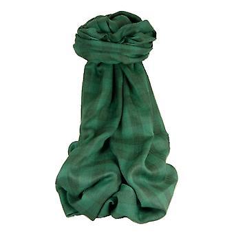 Cashmere Srinagar äänenvaimennin huivi suuri tarkistaa Emerald jäseneltä Pashmina & silkki