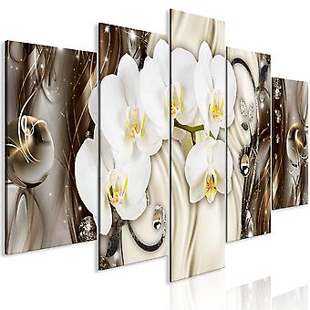 Canvas Print - Orchid Waterfall (5 Parts) Wide Brown