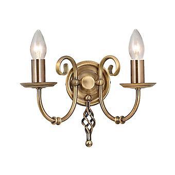 Artisan 2lt Wall Light Aged Brass