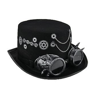 Steampunk Hut mit metallischen Silber Getriebe & Goggles