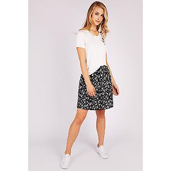 Louche Poema Floral Skirt Balck/White
