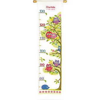 Little Owls On Tree Height Chart On Aida Counted Cross Stitc-7.25